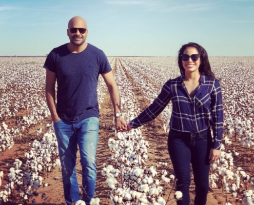 Jason Humble With His Wife In a Flower Field